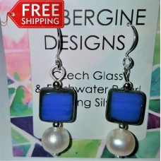 Freshwater Pearl & Royal Blue Opaque Czech Glass Earrings Sterling Silver