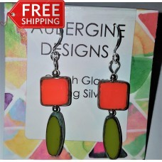 Vibrant Olive and Coral Red Czech Opaque Glass Earrings Sterling Silver
