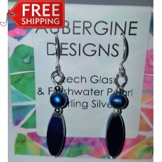 Navy Czech Glass and Freshwater Pearl Earrings Sterling Silver