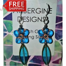 Long Bright Teal Czech Glass Flower Earrings Sterling Silver