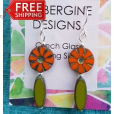 Orange and Olive Green Czech Glass Earrings Sterling Silver