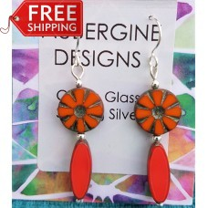 Orange and Coral Red Czech Glass Earrings Sterling Silver