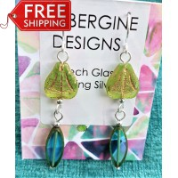 Extra long Czech Glass Earrings- Pale Green and Teal