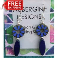 Royal Blue and Navy Czech Glass Earrings Sterling Silver