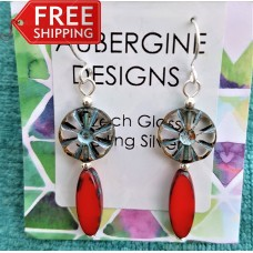 Bright Red and Pale Blue  Czech Earrings Sterling Silver