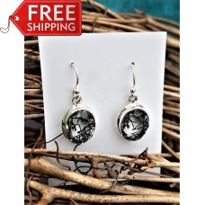 Stunning Tourmalinated Quartz Earrings Sterling Silver