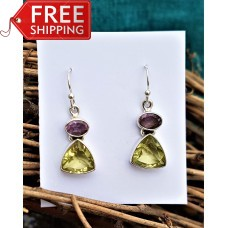 Stunning Amethyst and Lemon Quartz Earrings Sterling Silver
