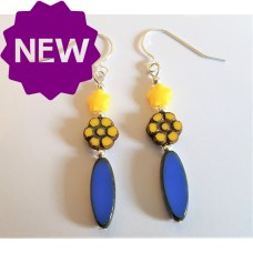 Handmade Czech Glass Bright Blue and Yellow Earrings Sterling Silver
