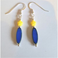 Handmade Czech Glass Earrings  Royal Blue and Yellow Star Sterling Silver