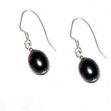 Black Freshwater Pearl Drop Earrings -STERLING SILVER