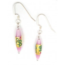 Temp out of Stock Long Glass Gold-foil Earrings Sterling Silver