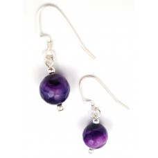 Faceted Purple Striped Agate Earrings Sterling Silver