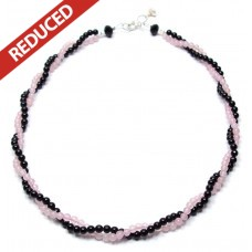 Rose Quartz & Black Agate Necklace