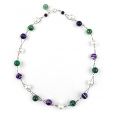 Faceted Agate Necklace Sterling Silver - Necklaces by Aubergine Designs