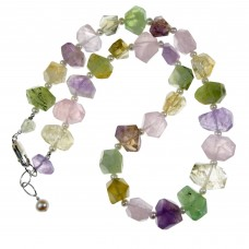SOLD! STUNNING Faceted Amethyst , Citrine, Prehnite, Quartz  Nugget & Pearl Necklace Sterling Silver
