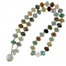 SOLD! Faceted Amazonite  & Pearl Necklace Sterling Silver