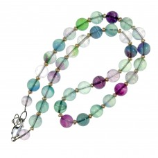 SOLD!!! Fluorite & Freshwater Pearl Necklace  Sterling Silver TEMP OUT OF STOCK