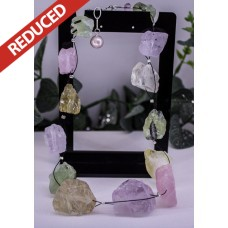 REDUCED! Over-sized Rough-cut Amethyst Citrine Prehnite & Quartz Necklace ONLY 1 AVAILABLE!