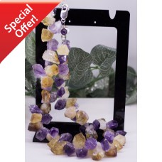 Large Rough-cut Amethyst & Citrine Necklace STERLING SILVER