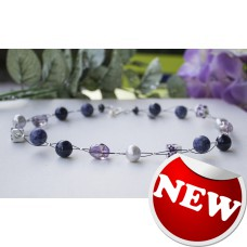 Grey Freshwater Pearl, Lapis Lazuli, Ametrine & Sodalite  & Chinese Porcelain Necklace Sterling Silver