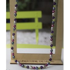 SOLD! Grey & Red Freshwater Pearl Amethyst & Peridot Nugget Necklace  -STERLING SILVER