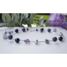 Extra Large Grey Freshwater Pearl, Lapis Lazuli, Ametrine & Sodalite  & Chinese Porcelain Necklace Sterling Silver