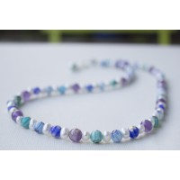 SOLD!!! Amethyst Freshwater Pearl and Blue Millefiori Glass Necklace  STERLING SILVER