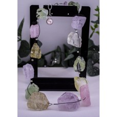 Over-sized Rough-cut Amethyst Citrine Prehnite & Quartz Necklace ONLY 1 AVAILABLE!
