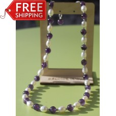 Amethyst and Freshwater Pearl Necklace -STERLING SILVER