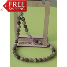 SOLD! Matte Jasper Quartz Pink Rhodonite & Tiger Eye Necklace -Sterling Silver
