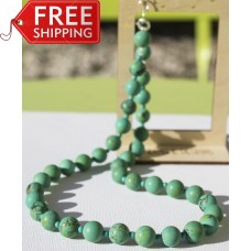 Matte Chinese Turquoise Necklace -Sterling Silver