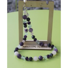 Matte Rose-quartz Obsidian, Sea-glass & Amethyst Freshwater Pearl Necklace -Sterling Silver