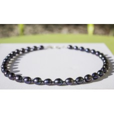 Large Black Pearl Necklace -Sterling Silver