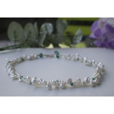 Keshi Pearl and Green Czech Crystal Necklace Sterling Silver