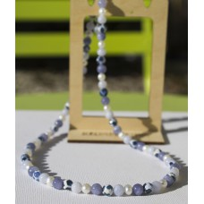 SOLD! Freshwater Pearl, Blue Lace Agate, Lavender Aquamarine & Patterned Agate Necklace -STERLING SILVER