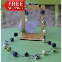 Porcelain Sodalite Agate Amethyst and Freshwater Pearl Necklace - Sterling Silver