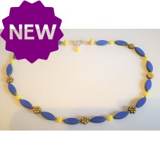 Handmade Czech Glass Necklace in Royal Blue and Yellow Sterling Silver