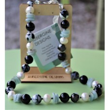 SOLD! Large Aquamarine Obsidian Pearl and Agate Necklace Sterling Silver