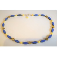 SOLD! Handmade Czech Glass Necklace in Royal Blue and Yellow Sterling Silver