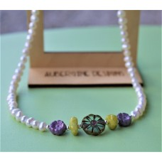 SOLD! Freshwater Pearl and Lavender, Teal  and Lemon Czech Glass  Necklace Sterling Silver