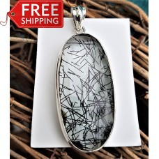 Stunning Large Tourmalinated Quartz Pendant Sterling Silver